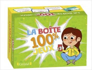 Ma boîte 100% jeux – Boîte de jeu avec 130 cartes : mimes, défis, énigmes et dessins – À partir de 7 ans