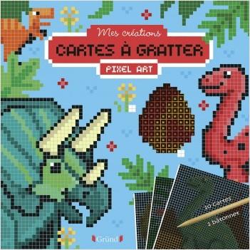 Cartes à gratter pixel art : Dinosaures – Pochette avec 10 cartes à gratter – À partir de 6 ans