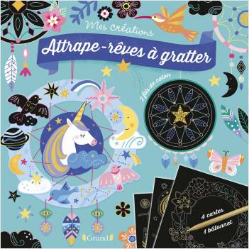Cartes à gratter : Attrape-rêves – Pochette avec 2 attrape-rêves à gratter et à assembler – À partir de 6 ans