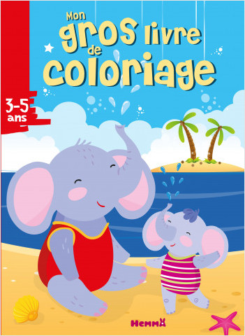 Mon gros livre de coloriage (Éléphants à la plage)