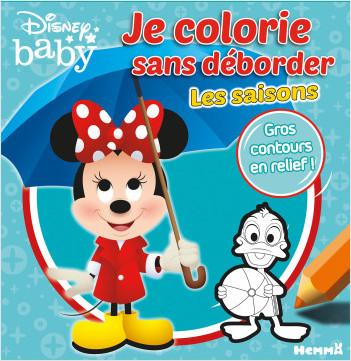 Disney Baby - Je colorie sans déborder - Les saisons - Livre de coloriage avec contours en relief - Dès 3 ans
