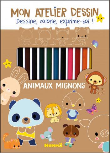 Animaux mignons - Kit avec crayons, taille-crayons et bloc, pour apprendre à dessiner pas à pas - dès 6 ans