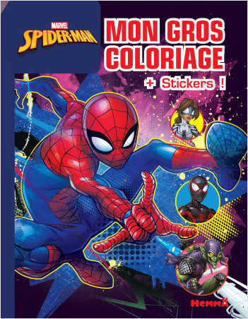 Marvel Spider-Man - Mon gros coloriage + stickers ! (Fond bleu)