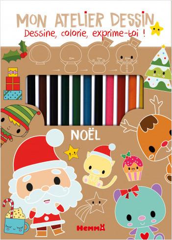Noël - Kit complet pour apprendre à dessiner pas à pas - dès 6 ans